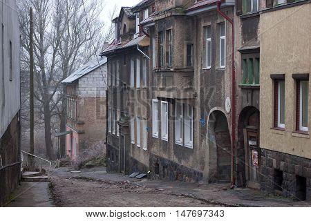 Old german street in the Gvardeysk (Tapiau). Kaliningrad region. Rusia.