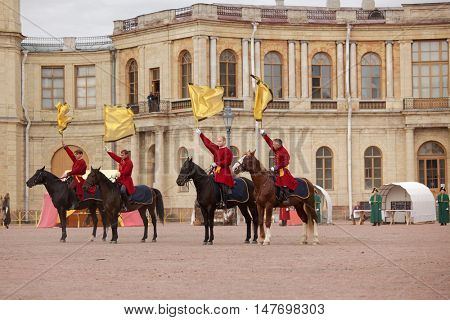GATCHINA, ST. PETERSBURG, RUSSIA - SEPTEMBER 10, 2016: Heralds on the platz in front of Gatchina palace during the festival Gatchinskaya Byl. The festival is held first time this year