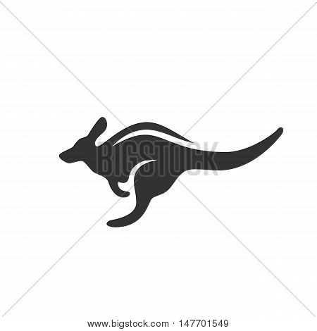 Kangaroo Icon isolated on a white background. Kangaroo Logo design vector template. Australian Animals Logotype concept icon. Symbol, sign, pictogram, illustration - stock vector