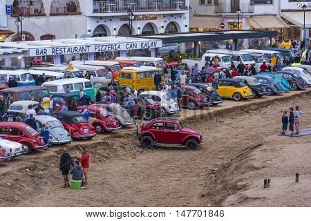 Tossa de Mar, Spain. September 17, 2016: 23rd Volkswagen classics meeting in Tossa de Mar. This is a meeting point for many fans of the classic air-cooled Volkswagen.