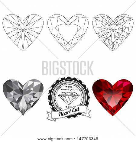Set of heart cut jewel views isolated on white background - top view bottom view realistic ruby realistic diamond and badge. Can be used as part of logo icon web decor or other design.