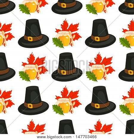 Happy Thanksgiving Day seamless pattern with holiday objects. Happy Thanksgiving Day harvest seamless pattern. Holiday decoration Thanksgiving Day seamless pattern autumn season design.