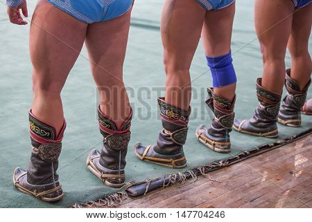 Ulaanbaatar, Mongolia, October 2016: Traditional shoes of mongolian wrestles