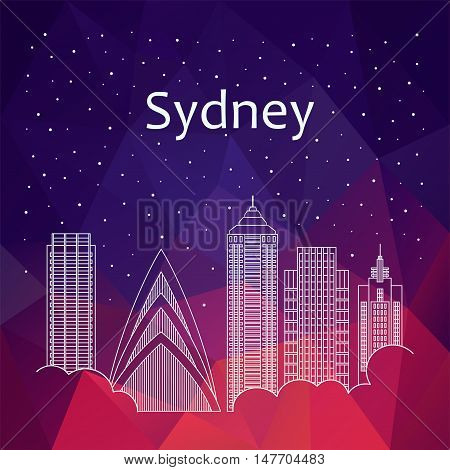 Sydney for banner, poster, illustration, game, background. Vector background Sydney - snow is falling. Night life of Sydney. Hackathon, workshop, training in Sydney. Holiday in Sydney