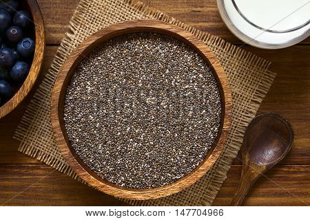 Healthy chia seeds (lat. Salvia hispanica) in wooden bowl with blueberries and milk on the side photographed overhead with natural light (Selective Focus Focus on the top of the chia seeds)