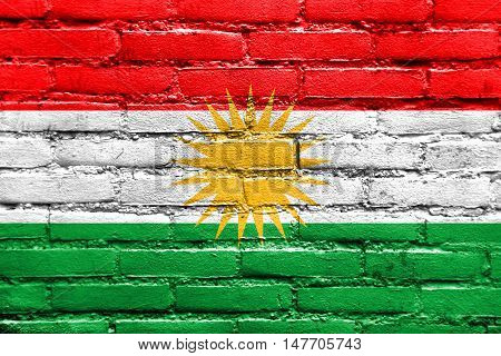 Flag Of Kurdistan, Painted On Brick Wall