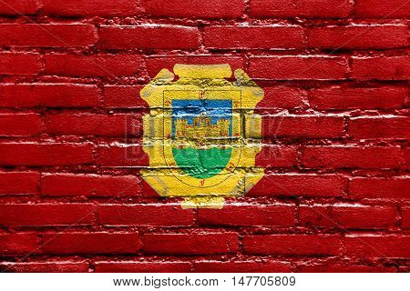 Flag Of La Serena, Chile, Painted On Brick Wall