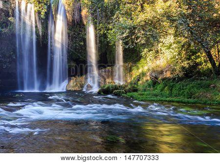 A beautiful waterfall views. Turkey, Antalya, Duden.