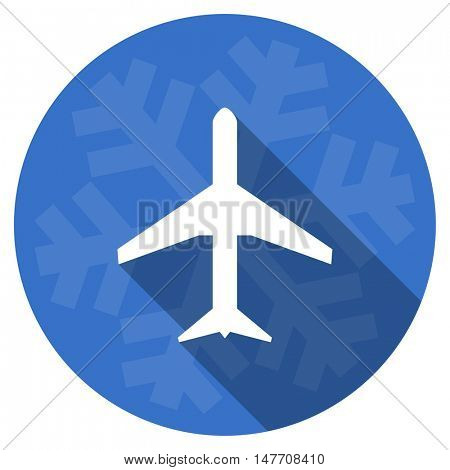 plane blue flat design christmas winter web icon with snowflake