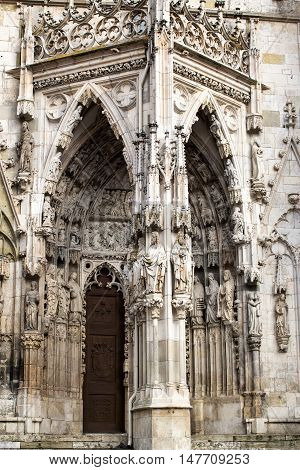 Statues of biblical saints featured on the exterior of St. Peter's Cathedral. Regensburg, Germany