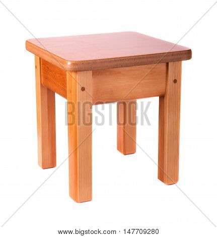 Small wooden stool isolated on white background