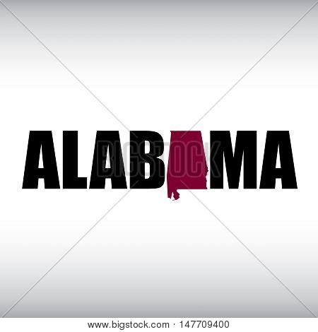 The Alabama shape is within the Alabama name in this state graphic