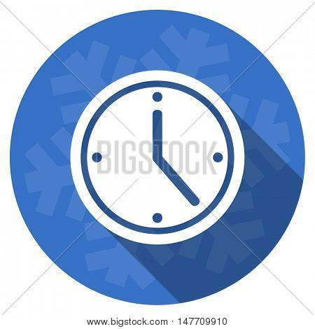 time blue flat design christmas winter web icon with snowflake