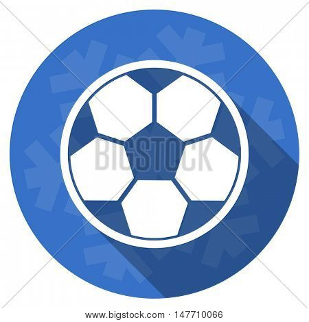 soccer blue flat design christmas winter web icon with snowflake