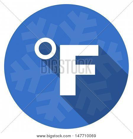 fahrenheit blue flat design christmas winter web icon with snowflake