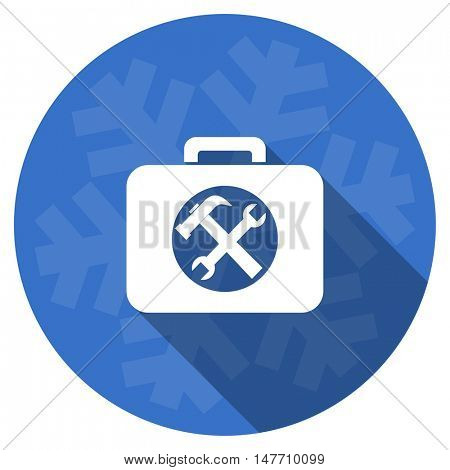 toolkit blue flat design christmas winter web icon with snowflake
