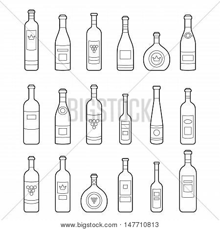 Set of wine bottles outline. Isolated wine bottles. Different kinds of wine. Design elements for banners wine markets alcohol advertising bars and vineyards. Template for site menu infographics
