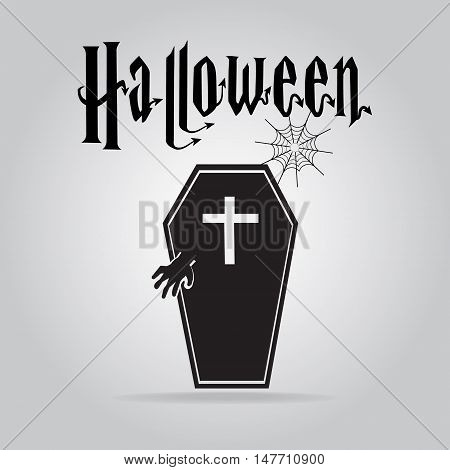 Ghost and casket halloween sign vector illustration