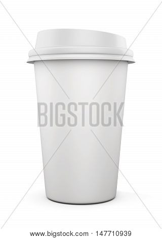 Disposable Coffee Cup Isolated On White Background. Mock Up For Your Design. 3D Rendering