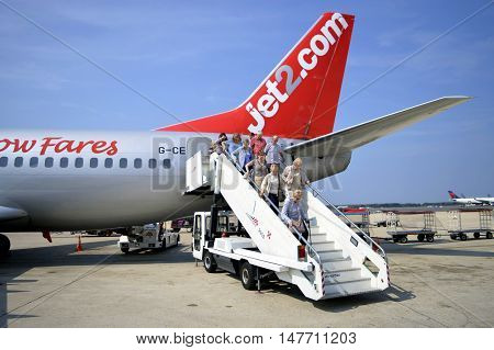 Rome, Italy - September 10, 2016 : Passengers disembarking from a Jet2.com Airbus A320 aircraft.