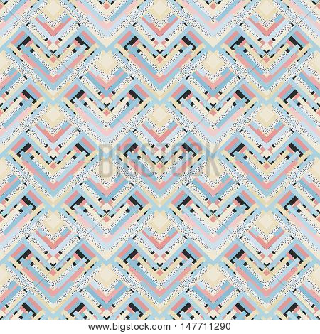 Seamless background. Retro print. Memphis ornament. Avant-garde pattern. Vintage graphic. Bauhaus illustration. Postmodernism design. Hipster backdrop. Futuristic wallpaper. Geometry art. Vector.