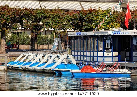 Rapperswil, Switzerland - September 12, 2016: boats at peer on Lake Zurich. Rapperswil  is a part of the municipality of Rapperswil-Jona in the Swiss canton of St. Gallen, located on the east side of Lake Zurich.