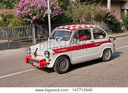 FORLI, ITALY - SEPTEMBER 11: vintage Italian sports car Fiat Abarth 850 TC Berlina of the sixties derived from the Fiat 600 in classic car rally