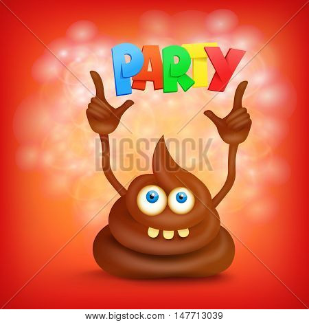 Funny cartoon poop cut emoji character with party title. Vector illustration