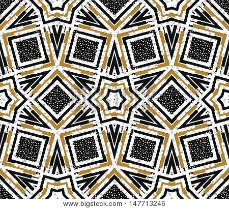 Seamless pattern. Retro ornament. Memphis print. Avant-garde background. Vintage art. Bauhaus wallpaper. Postmodernism backdrop. Hipster design. Futuristic illustration. Geometry graphic. Vector.