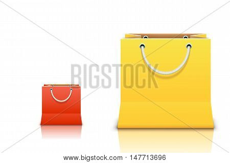 illustration of small red and big yellow bags on white background