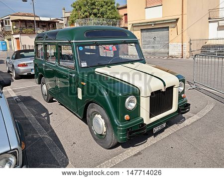 GAMBETTOLA FC ITALY - SEPTEMBER 3: old military van Fiat 1100 - 103 Savio (1957) belonged to the italian police in classic car rally during the festival