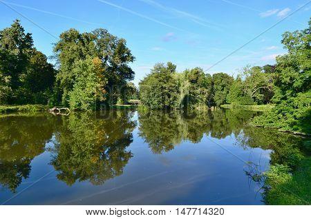 view of the pond in the castle park castle Lednice historical Lednice - Valtice area South Moravia Czech Republic