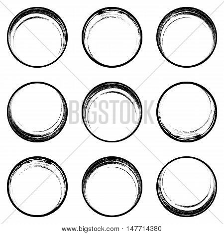 Black brush strokes circle buttons web design collection