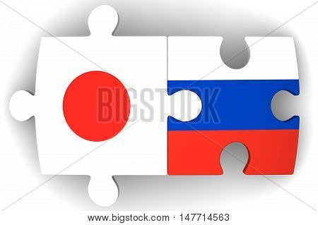Cooperation of Russia and Japan. Puzzles with flags of the Russian Federation and Japan on a white surface. The concept of coincidence of interests in geopolitics. Isolated. 3D Illustration