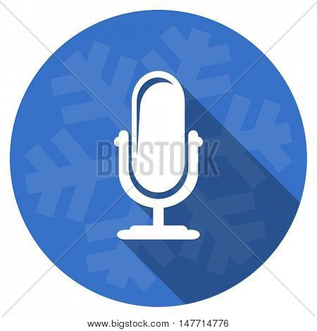 microphone blue flat design christmas winter web icon with snowflake