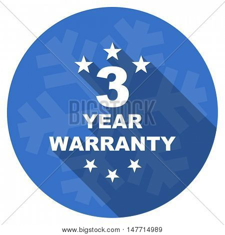 warranty guarantee 3 year blue flat design christmas winter web icon with snowflake