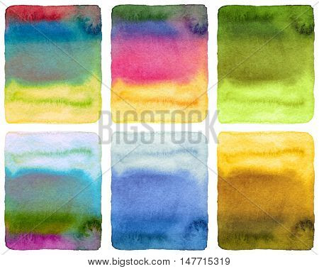 Abstract watercolor painted background. Grunge wet paper template. Collection. Isolated.