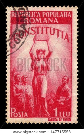 ROMANIA - CIRCA 1948: A stamp printed in Romania shows allegorical image of the new Constitution, series new constitution, red, circa 1948
