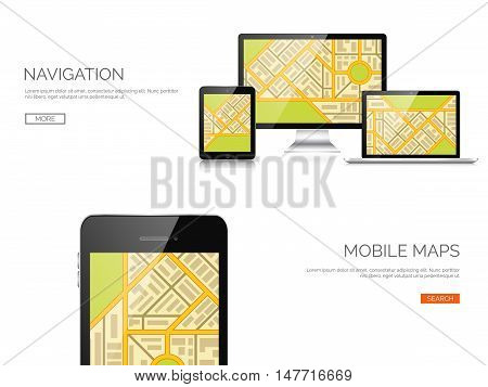 Vector illustration. Realistic laptop, tablet. Adaptive ui. Responcive web design.