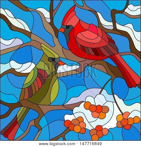 Illustration in stained glass style pair of birds cardinals sitting on a branch of mountain ash on a background of sky and no snow