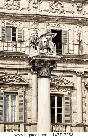 Winged lion of Saint Mark on piazza delle Erbe in Verona, Veneto, Italy