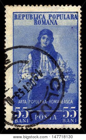 ROMANIA - CIRCA 1953: A stamp printed in Romania shows folk costume from West Carpathians in Romania, circa 1953