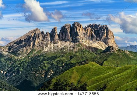 summer viiew of Sassolungo group from Fassa Valley Trentino Italy