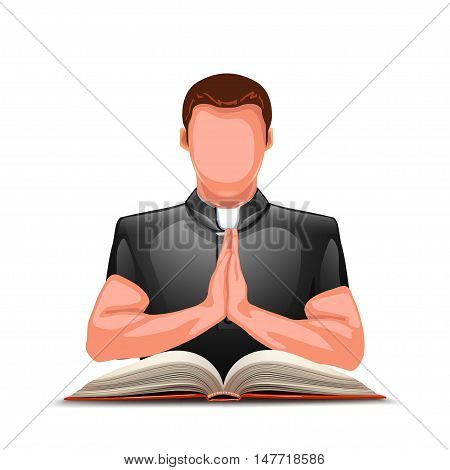 illustration of praying priest color silhouette with open book