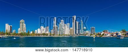 SURFERS PARADISE, AUS - SEPT 05 2016 Panoramic skyline of Surfers Paradise, Gold Coast. It one of Australia's iconic coastal tourist destinations.