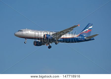 BUDAPEST, HUNGARY - MAY 7: Aeroflot A320 taking off at Budapest Liszt Ferenc Airport, MAY 7th 2015. Aeroflot is Russia's flag carrier and largest airline