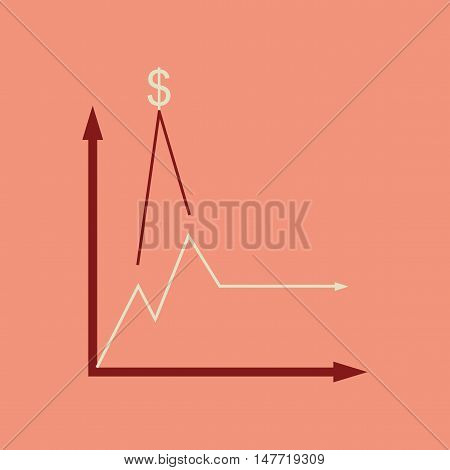 Flat web icon on  stylish background monetary infographics