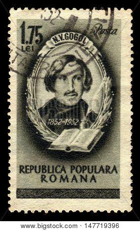 ROMANIA - CIRCA 1952: A stamp printed in Romania shows Nikolai W.Gogol, russian writer, 100th anniversary of the death, circa 1952