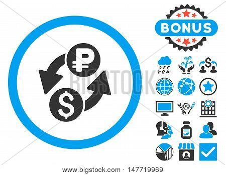 Dollar Rouble Exchange icon with bonus symbols. Vector illustration style is flat iconic bicolor symbols, blue and gray colors, white background.