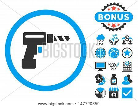 Drill icon with bonus symbols. Vector illustration style is flat iconic bicolor symbols, blue and gray colors, white background.